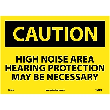 Caution, High Noise Area Hearing Protection May Be Necessary, 10X14, Adhesive Vinyl