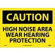 Caution, High Noise Area Wear Hearing Protection, 10X14, Adhesive Vinyl