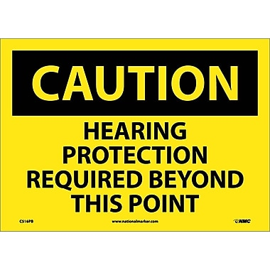 Caution, Hearing Protection Required Beyond This Point, 10X14, Adhesive Vinyl