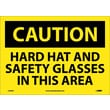 Caution, Hard Hat And Safety Glasses In This Area, 10X14, Adhesive Vinyl
