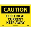 Caution, Electrical Current Keep Away, 10X14, Adhesive Vinyl
