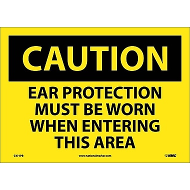 Caution, Ear Protection Must Be Worn When Entering This Area, 10X14, Adhesive Vinyl