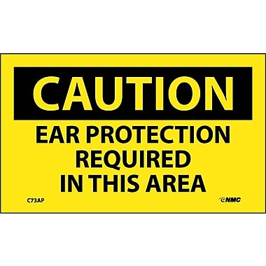 Caution, Ear Protection Required In This Area, 3X5, Adhesive Vinyl, 5Pk