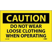 Caution, Do Not Wear Loose Clothing When Operating, 3X5, Adhesive Vinyl 5/Pk