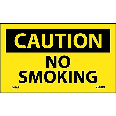 Caution, No Smoking, 3X5, Adhesive Vinyl, 5Pk