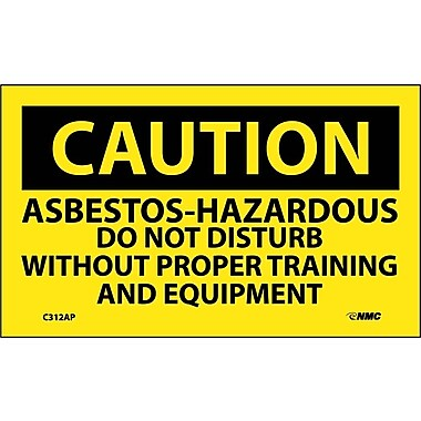 Caution, Asbestos-Hazardous .., 3X5, Adhesive Vinyl, 5/Pk