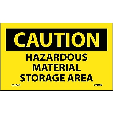 Caution, Hazardous Material Storage Area, 3X5, Adhesive Vinyl, 5/Pk