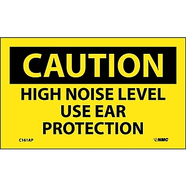 Caution, High Noise Level Use Ear Protection, 3X5, Adhesive Vinyl, 5/Pk