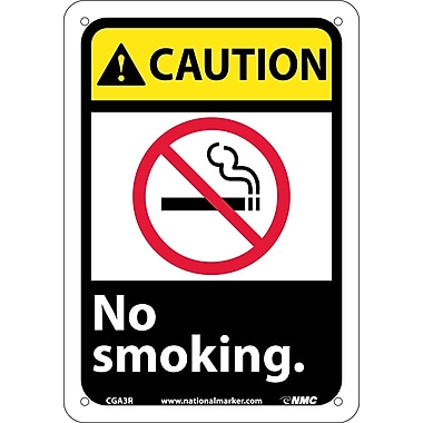 Caution, No Smoking (W/Graphic), 10X7, Rigid Plastic