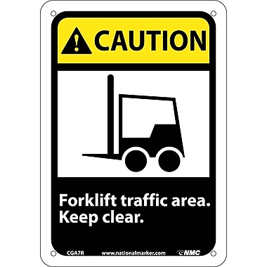 Caution, Forklift Traffic Area Keep Clear with Graphic, 10