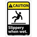 Caution, Slippery When Wet (W/Graphic), 10X7, Rigid Plastic