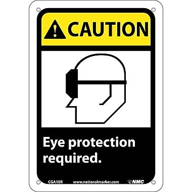 Caution, Eye Protection Required with Graphic, 10