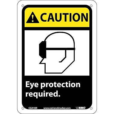 Caution, Eye Protection Required (W/Graphic), 10X7, Rigid Plastic