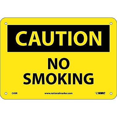 Caution, No Smoking, 7X10, Rigid Plastic