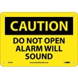 Caution, Do Not Open Alarm Will Sound, 7X10, Rigid Plastic