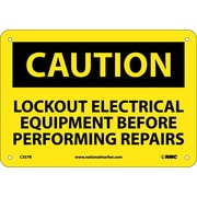 Caution, Lockout Electrical Equipment Before . . .., 7X10, Rigid Plastic
