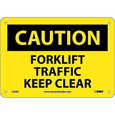 Caution, Forklift Traffic Keep Clear, 7X10, Rigid Plastic