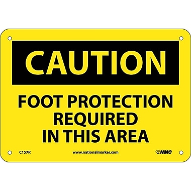 Caution, Foot Protection Required In This Area, 7X10, Rigid Plastic
