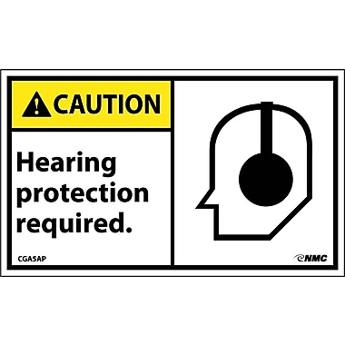 Caution, Hearing Protection Required (Graphic), 3X5, Adhesive Vinyl, 5/Pk