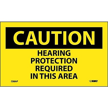 Caution, Hearing Protection Required In This Area, 3X5, Adhesive Vinyl, 5Pk