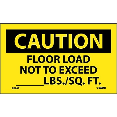 Caution, Floor Load Not To Exceed ________Lbs. Sq/Ft, 3X5, Adhesive Vinyl, 5Pk