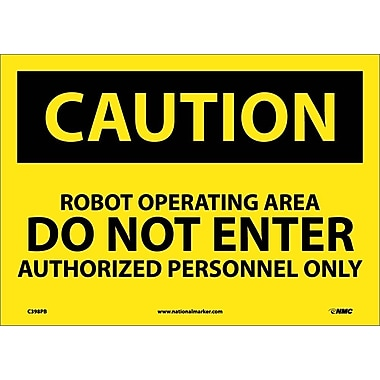 Caution, Robot Operating Area Do Not Enter, 10X14, Adhesive Vinyl