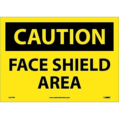 Caution, Face Shield Area, 10X14, Adhesive Vinyl
