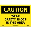 Caution, Wear Safety Shoes In This Area, 10X14, Adhesive Vinyl