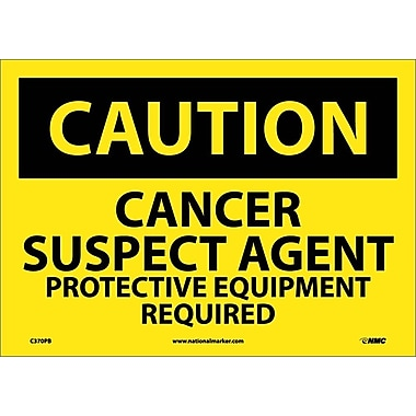 Caution, Cancer Suspect Agent Protective Equipment, 10X14, Adhesive Vinyl
