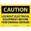 Caution, Lockout Electrical Equipment Before . . .., 10X14, Adhesive Vinyl
