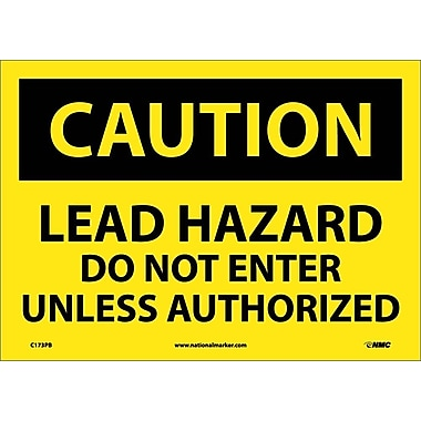 Caution, Lead Hazard Do Not Enter Unless Authorized, 10X14, Adhesive Vinyl
