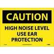 Caution, High Noise Level Use Ear Protection, 10X14, Adhesive Vinyl