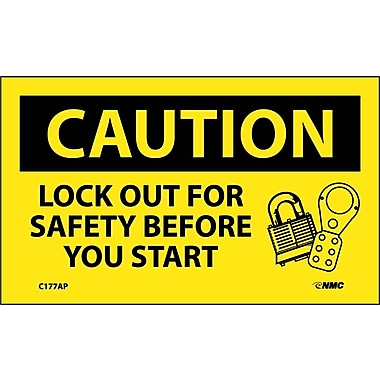 Caution, Lockout For Safety Before You Start, 3X5, Adhesive Vinyl, 5/Pk