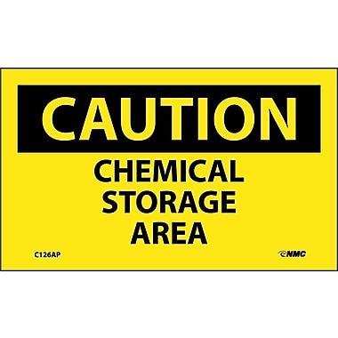 Caution, Chemical Storage Area, 3X5, Adhesive Vinyl, 5/Pk