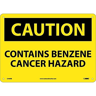 Caution, Contains Benzene Cancer Hazard, 10X14, Rigid Plastic