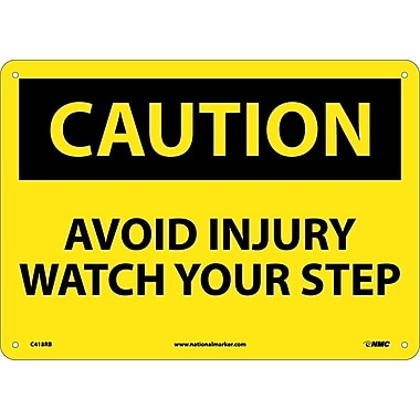 Caution, Avoid Injury Watch Your Step, 10X14, Rigid Plastic