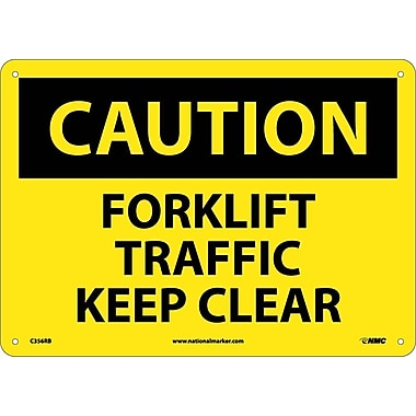 Caution, Forklift Traffic Keep Clear, 10X14, Rigid Plastic
