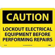 Caution, Lockout Electrical Equipment Before . . .., 10X14, Rigid Plastic