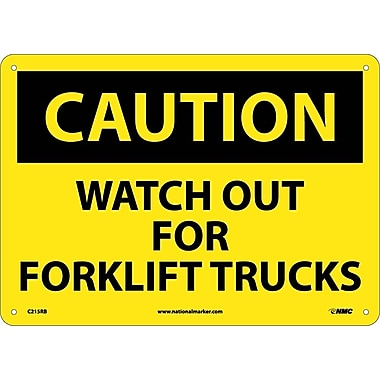 Caution, Watch Out For Fork Lift Trucks, 10X14, Rigid Plastic