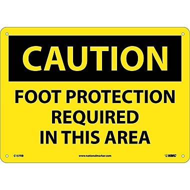 Caution, Foot Protection Required In This Area, 10X14, Rigid Plastic