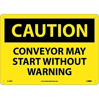 Caution, Conveyor May Start Without Warning, 10X14, Rigid Plastic