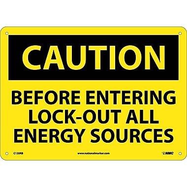 Caution, Before Entering Lock Out All Energy Sources, 10X14, Rigid Plastic