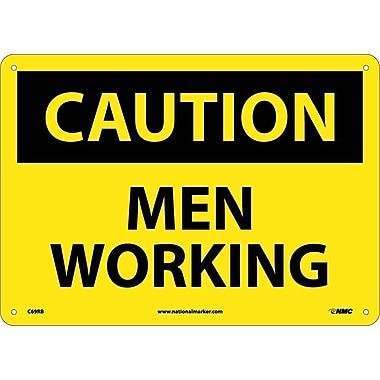 Caution, Men Working, 10X14, Rigid Plastic