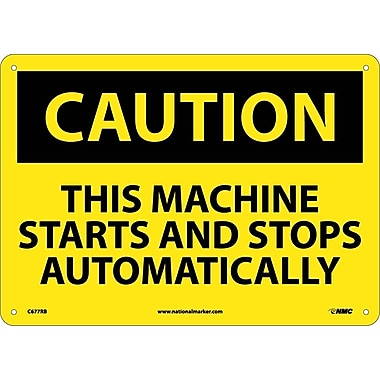 Caution, This Machine Starts And Stops Automatically, 10X14, Rigid Plastic