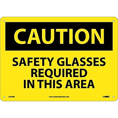 Caution, Safety Glasses Required In This Area, 10X14, Rigid Plastic