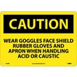 Caution, Wear Goggles Face Shield Rubber Gloves And Apron When Handling