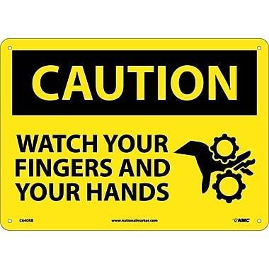 Caution, Watch Your Fingers And Your Hands, 10X14, Rigid Plastic