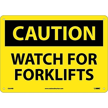 Caution, Watch For Forklifts, 10X14, Rigid Plastic