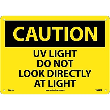 Caution, Uv Light Do Not Look Directly At Light, 10X14, Rigid Plastic