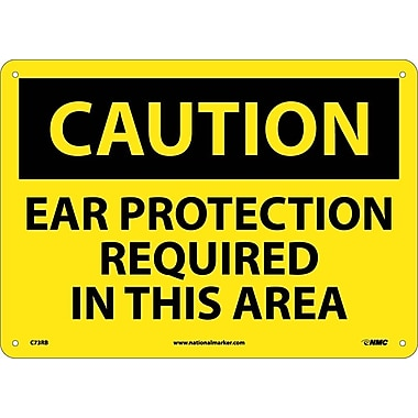 Caution, Ear Protection Required In This Area, 10X14, Rigid Plastic